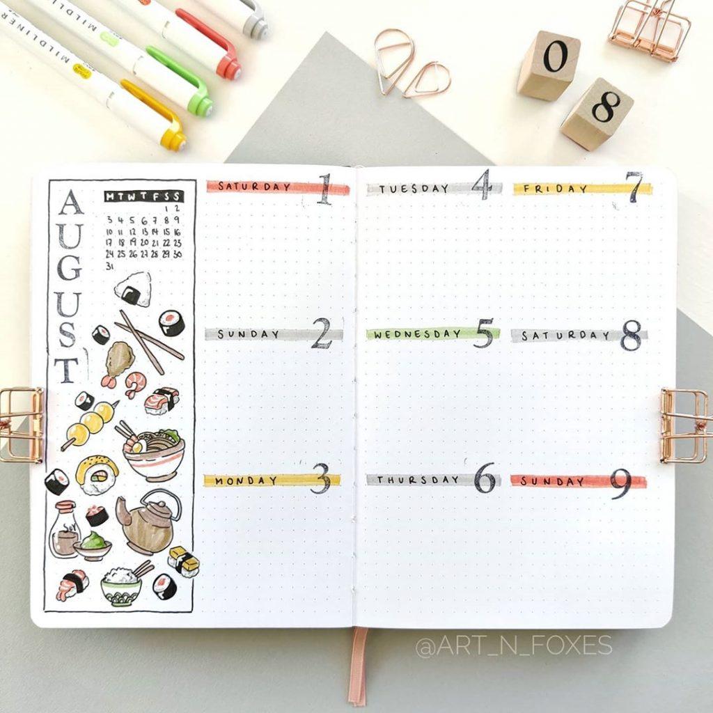 sushi themed weeklies bujo