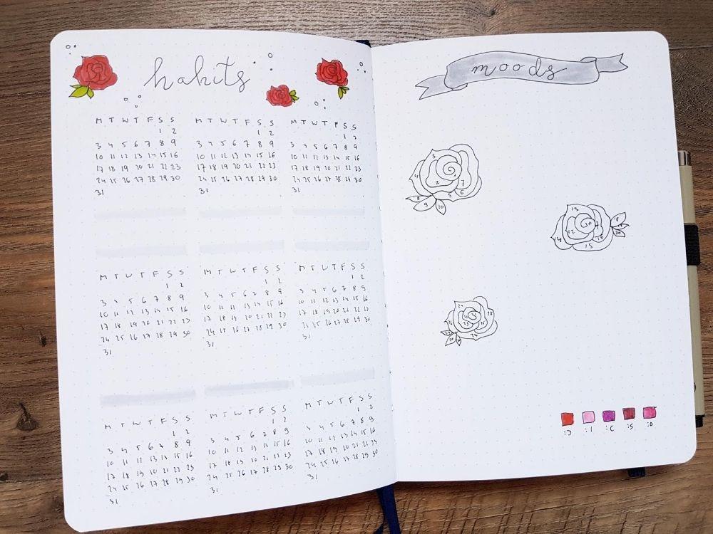 habit mood tracker rose doodles