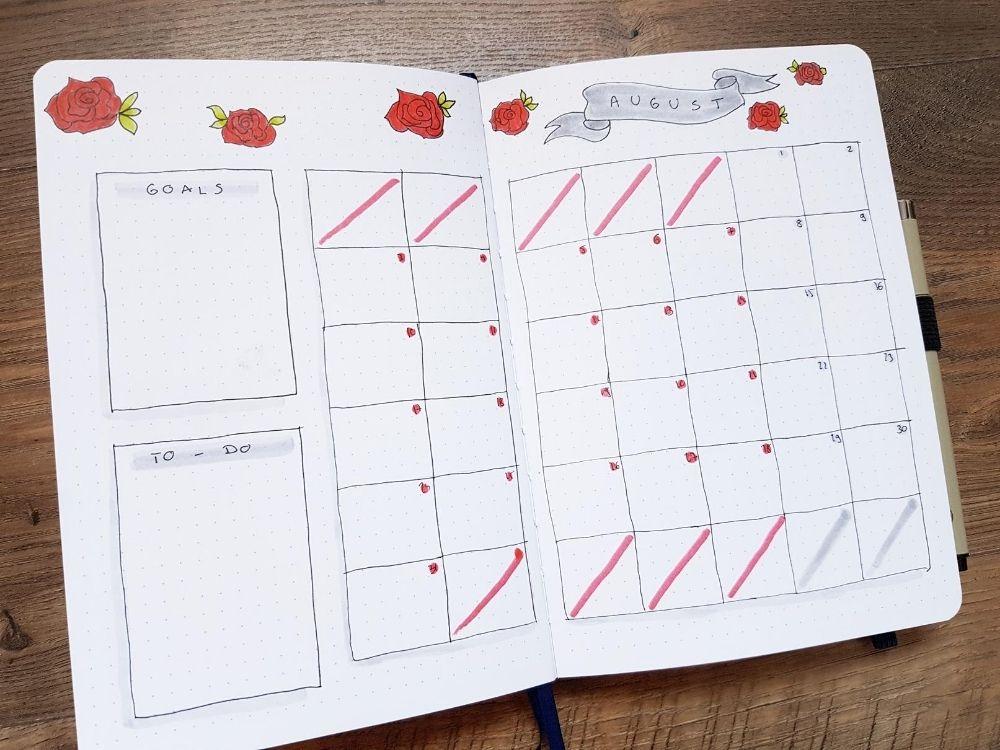 monthly calendar rose doodles banner
