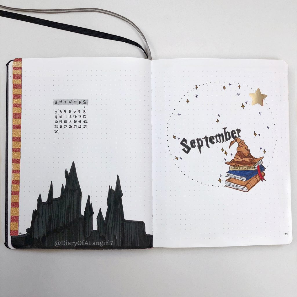 Harry Potter Bullet Journal Cover Page