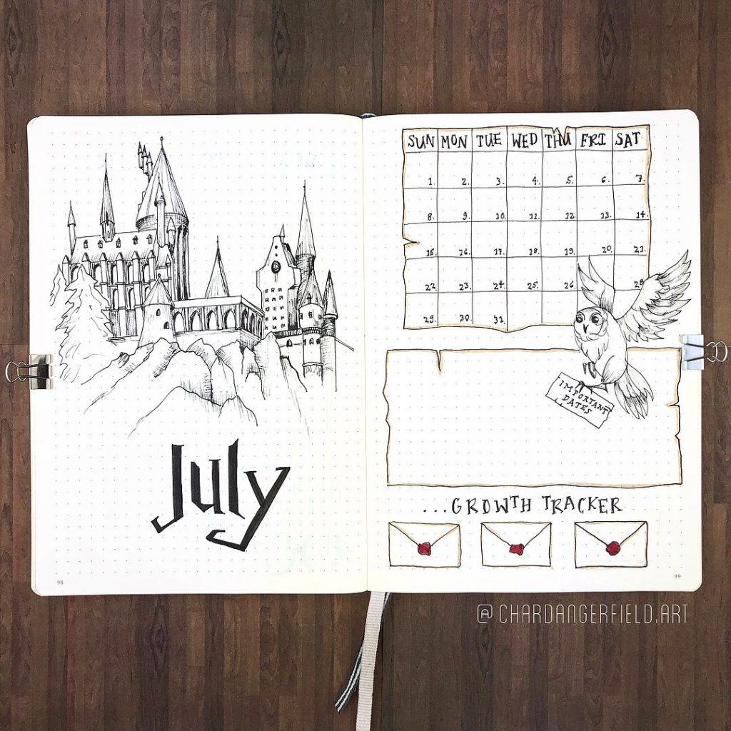 monthly calendar july harry potter