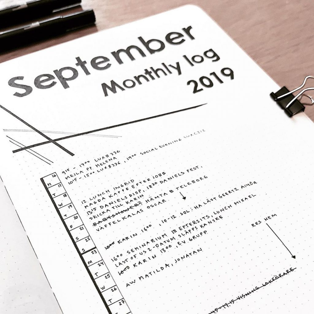 Minimalist Monthly Log for September