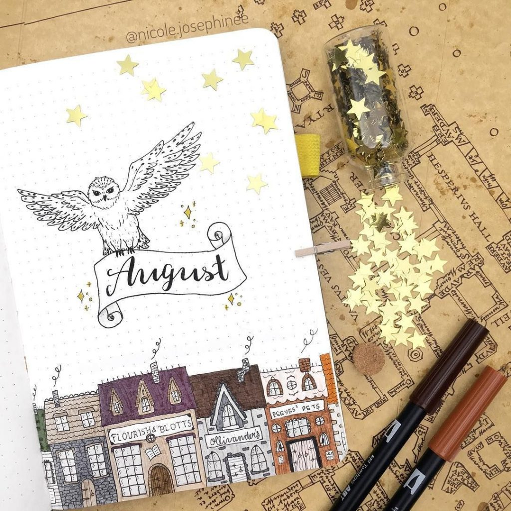 august hedwig inspired bullet journal