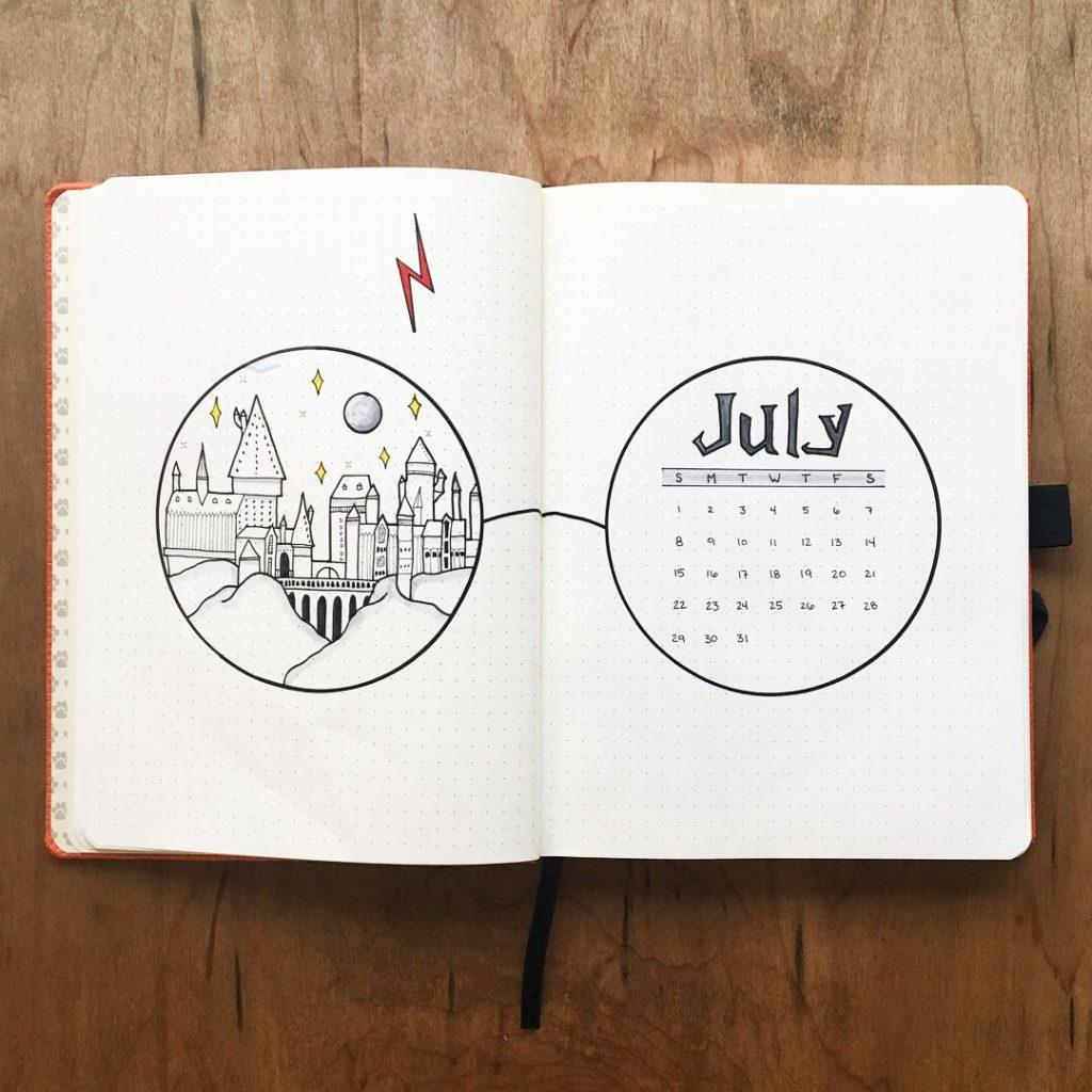 hello July bujo page harry potter