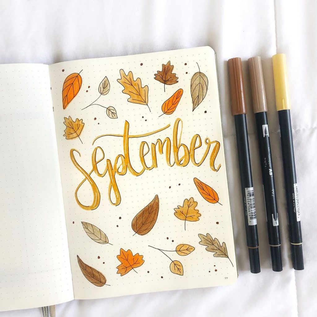 Leaves Themed September Bullet Journal