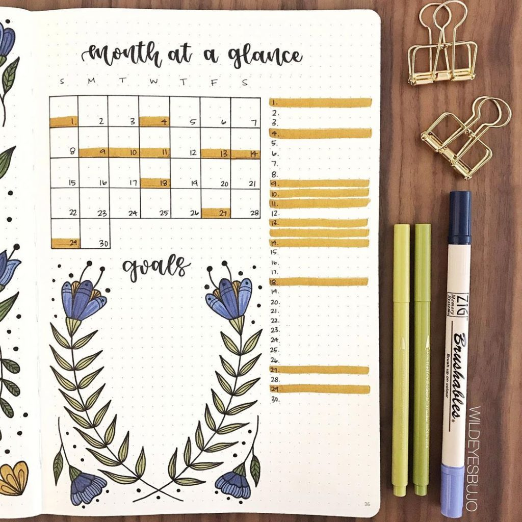 One Page Monthly Layout