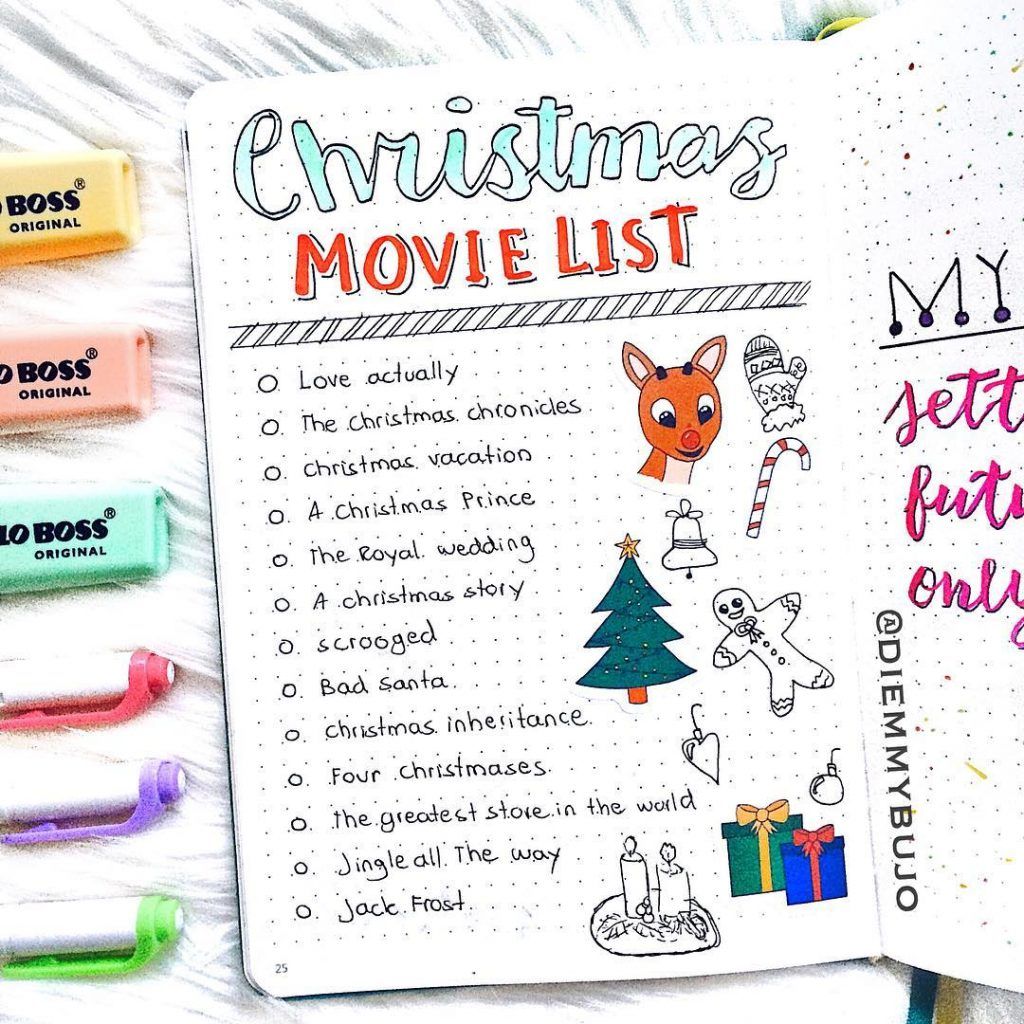 bullet journal holiday movie log