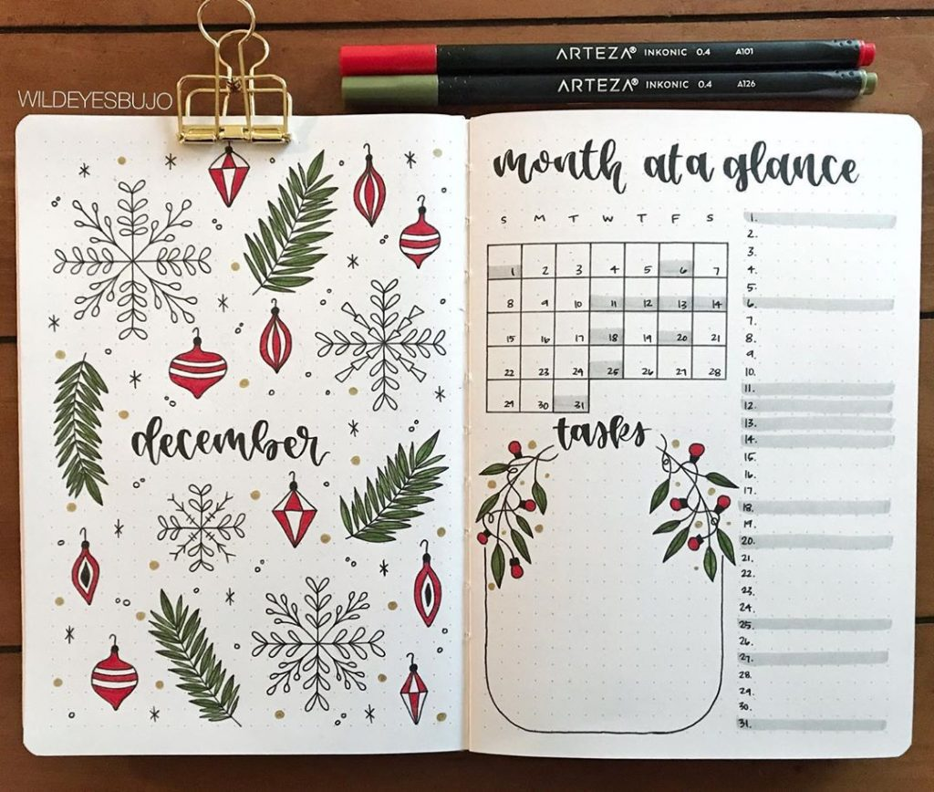 christmas red green monthly spread