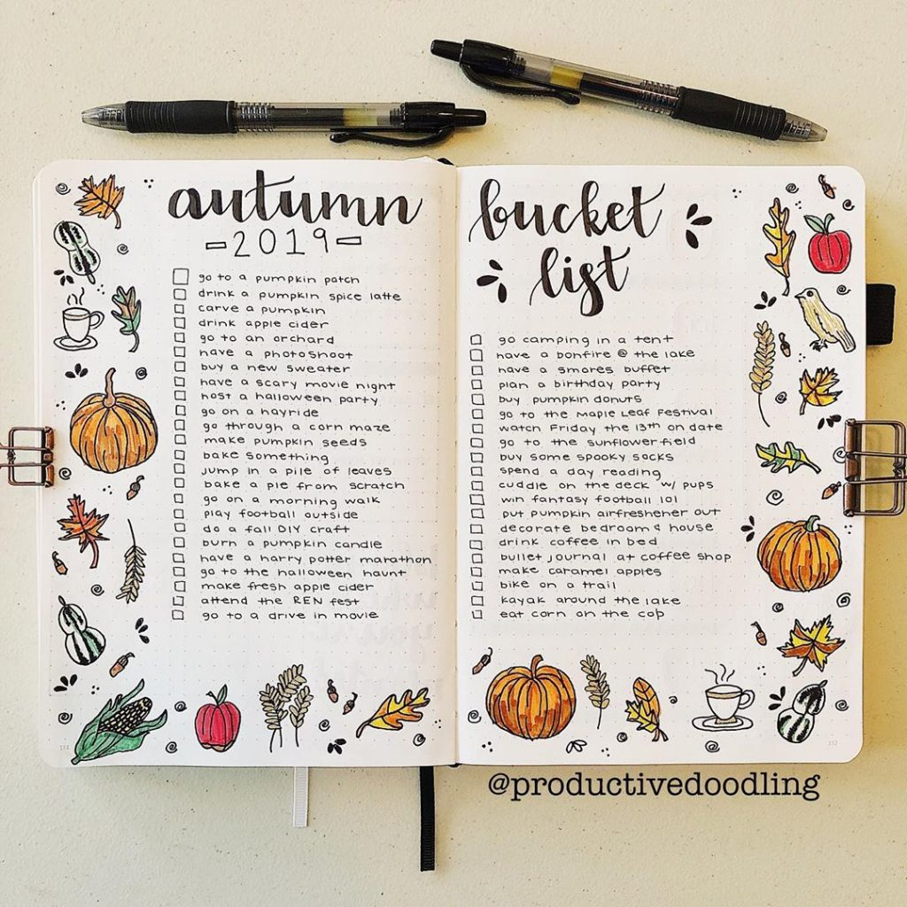 bullet journal fall bucket list