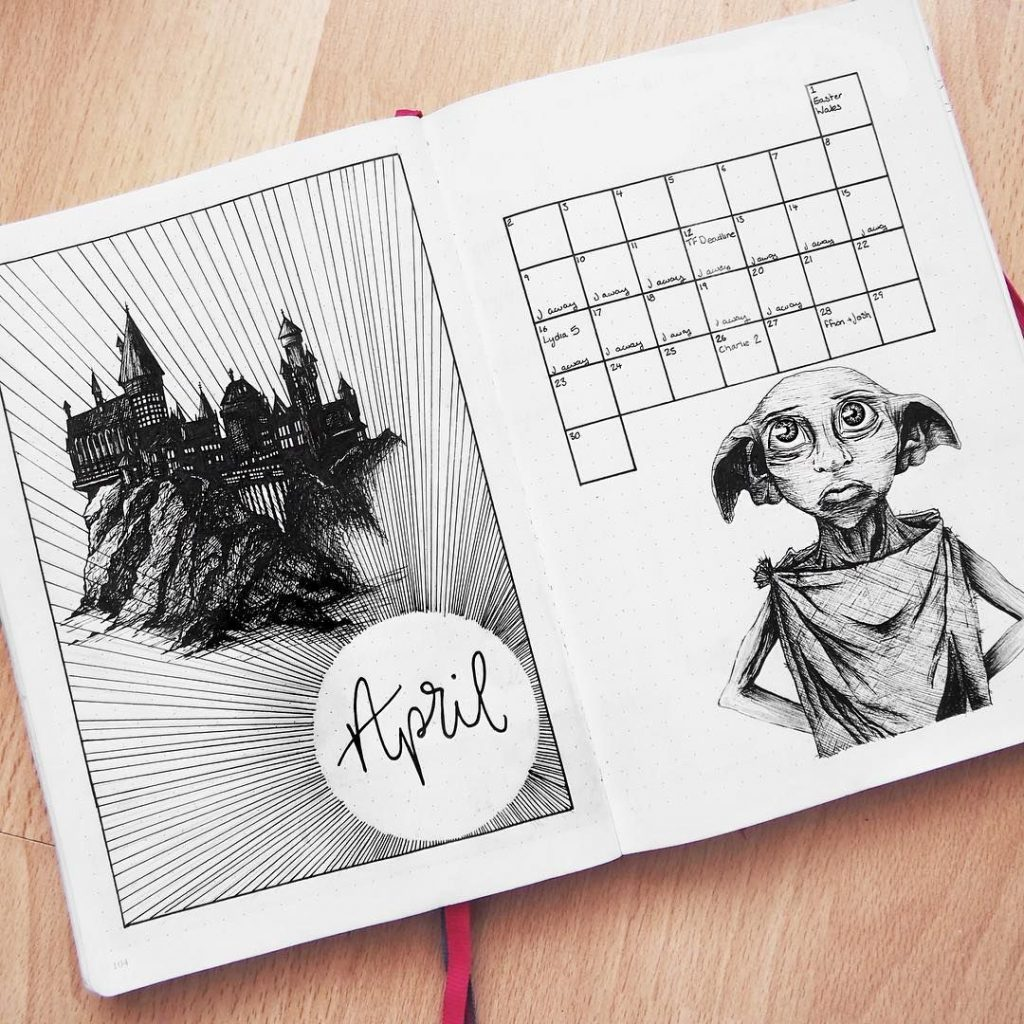 harry potter april monthly spread