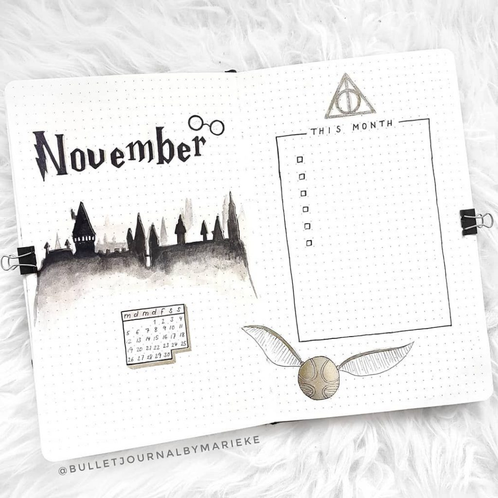 quidditch theme monthly spread