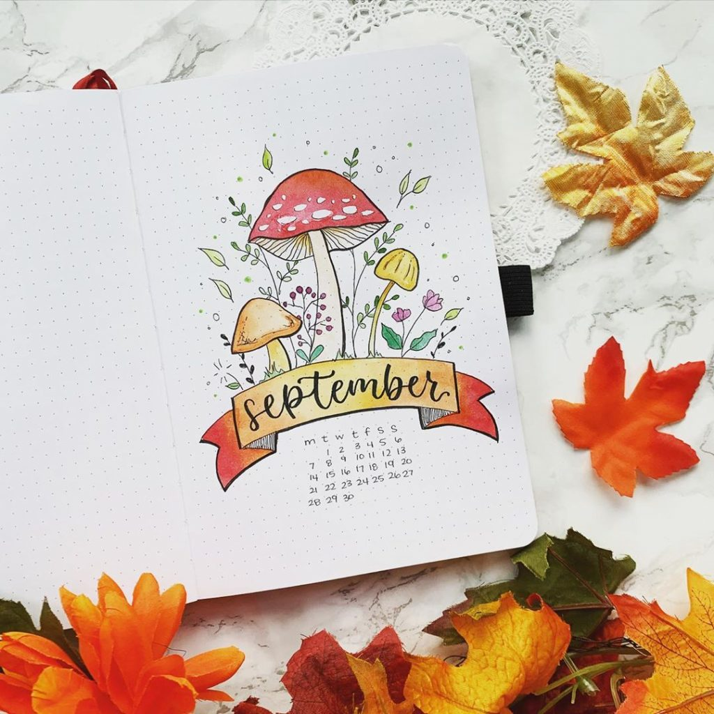 mushroom themed bullet journal cover