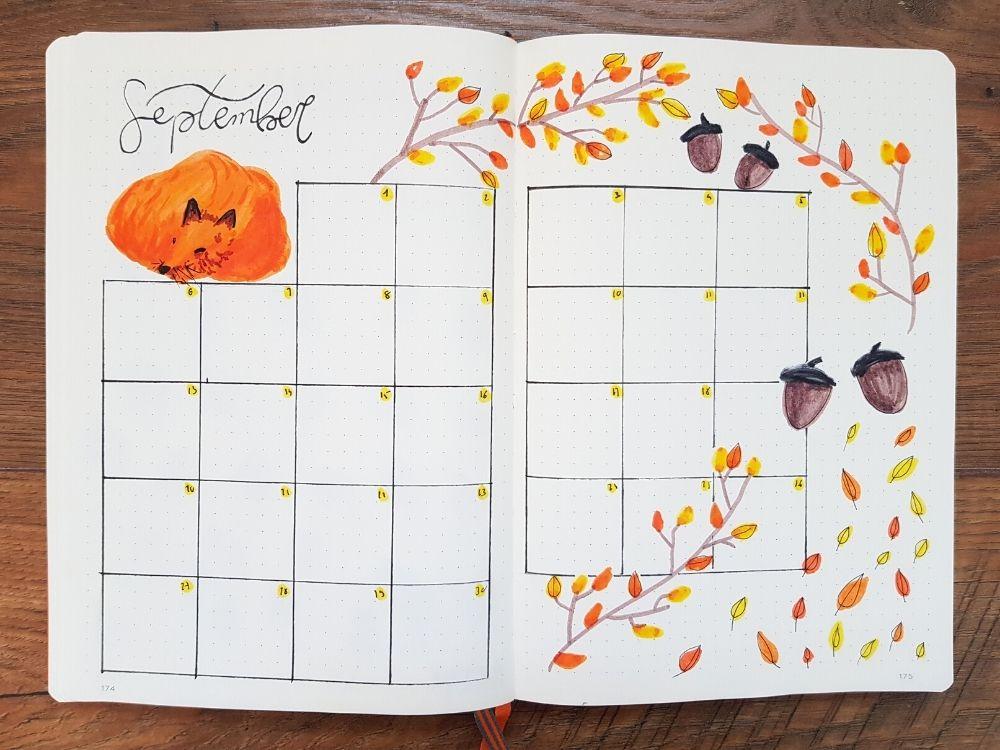 september monthly calendar bujo