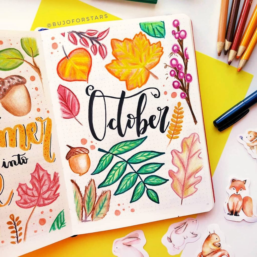 Leaves themed monthly cover