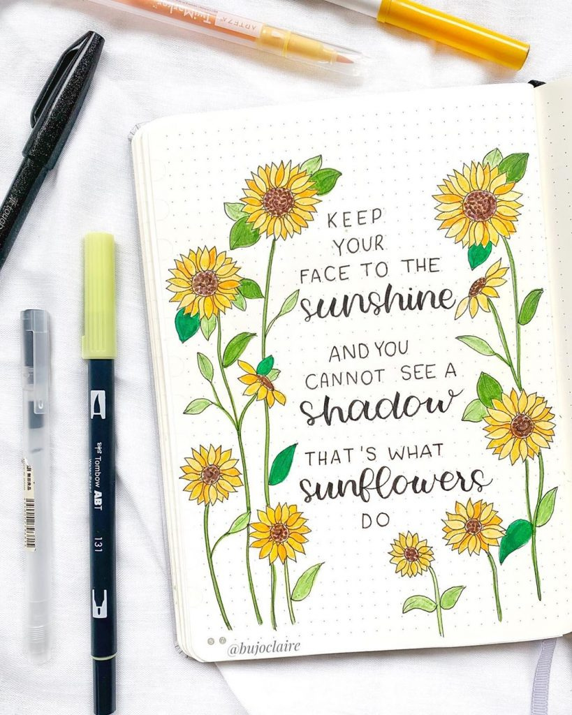 sunflower bujo quote page