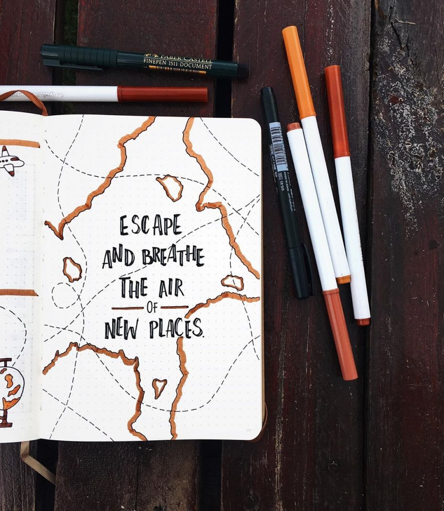 travel bujo quote page