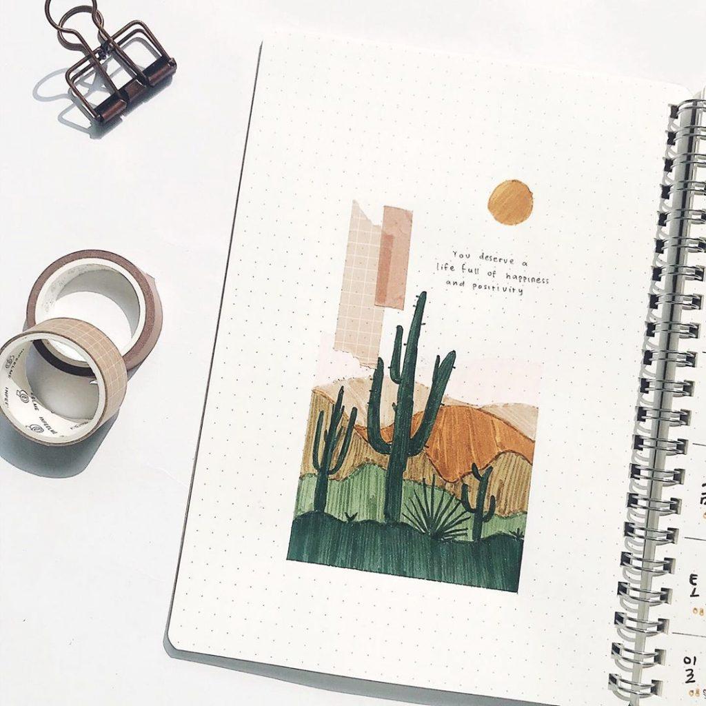 cacti bullet journal saying layout