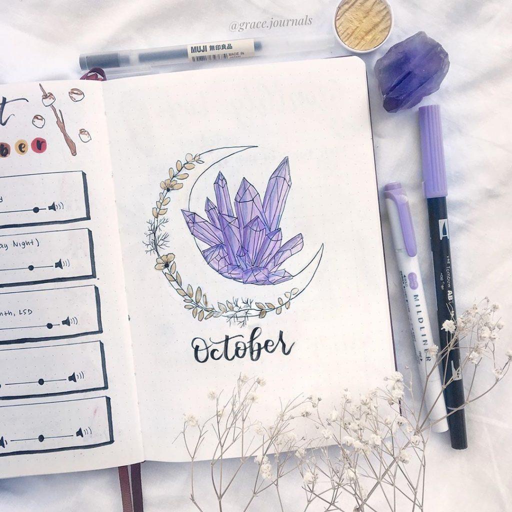 Purple Bullet Journal Ideas for October