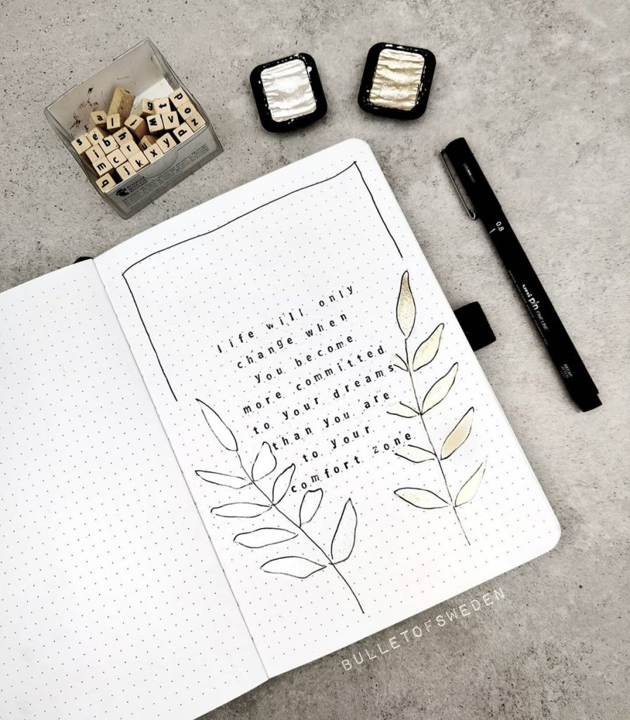 minimalist bullet journal quote page