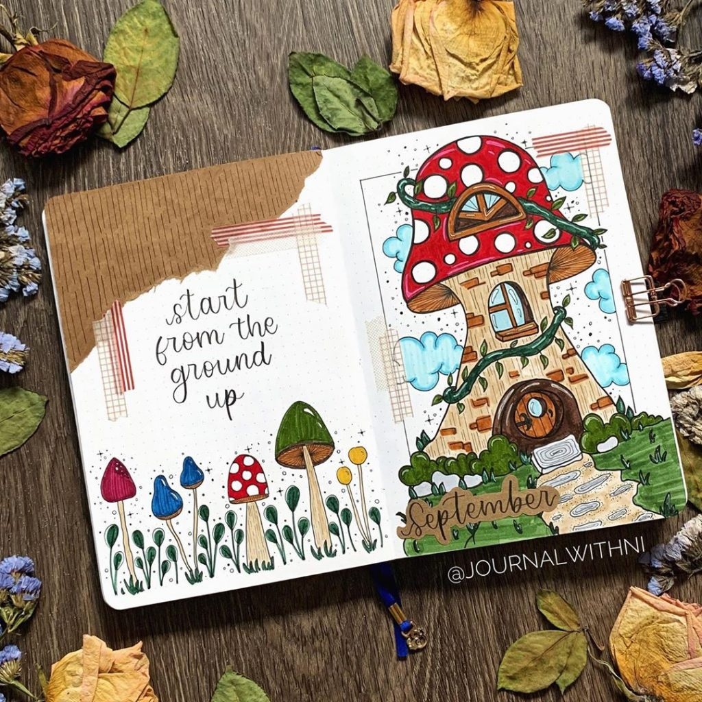 bujo quotes september mushroom themed
