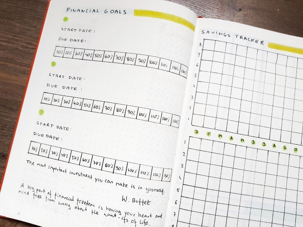 personalized planner financial goals page