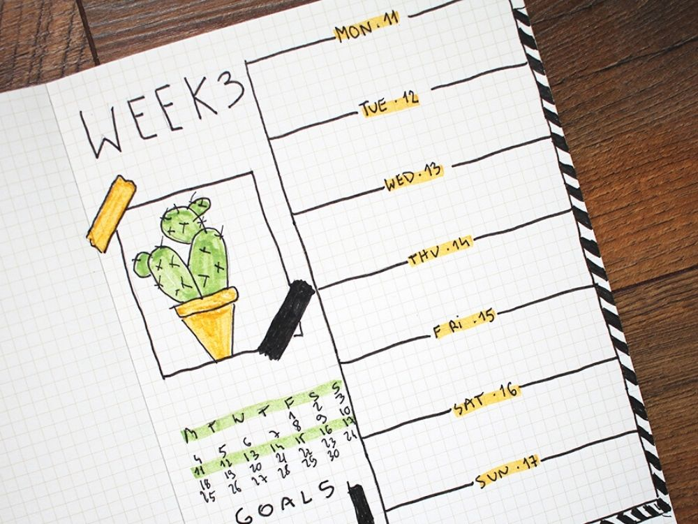 cacti theme bullet journal weekly layout