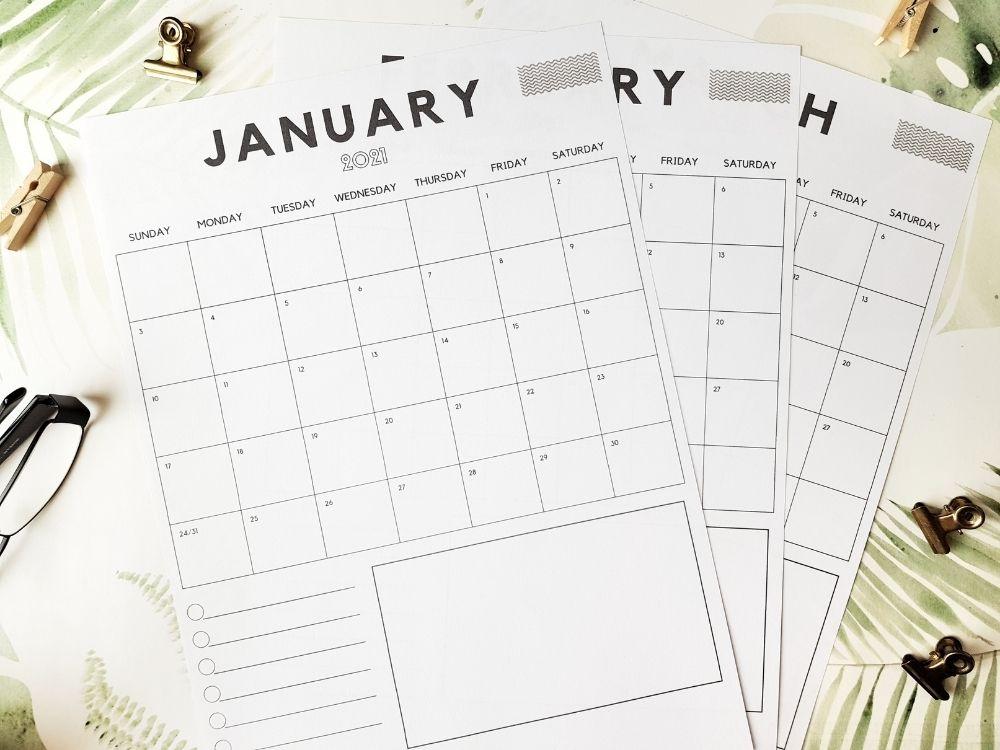 2021 stylish vertical calendar design