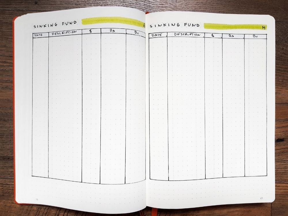 sinking fund planner pages