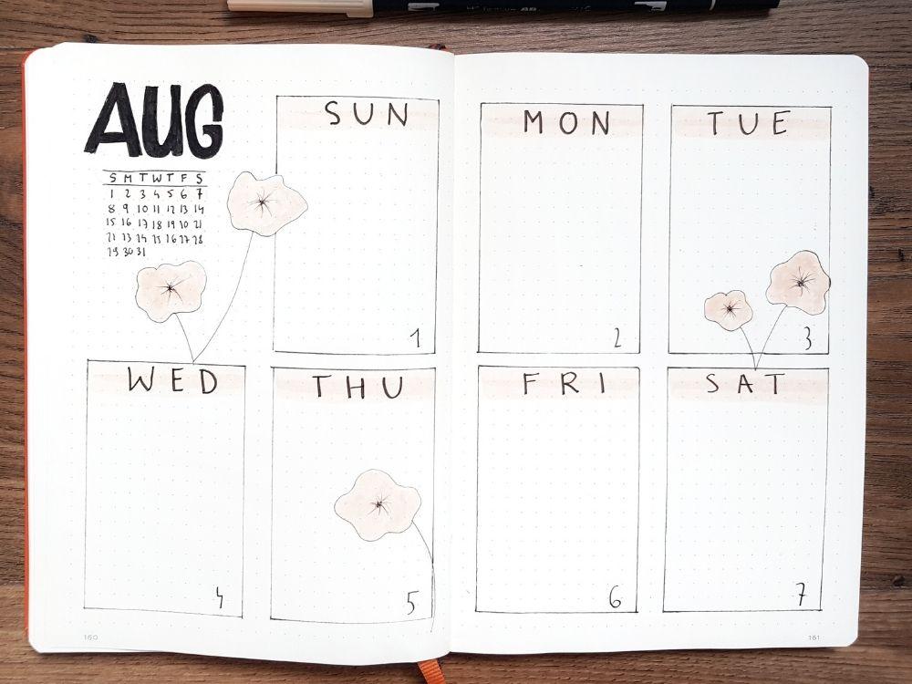simple bujo weekly spread flower doodles