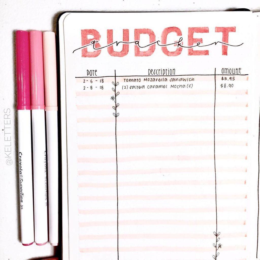 expense log bullet journal