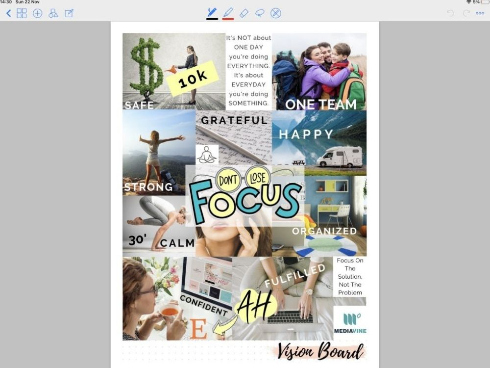 vision board blank journal