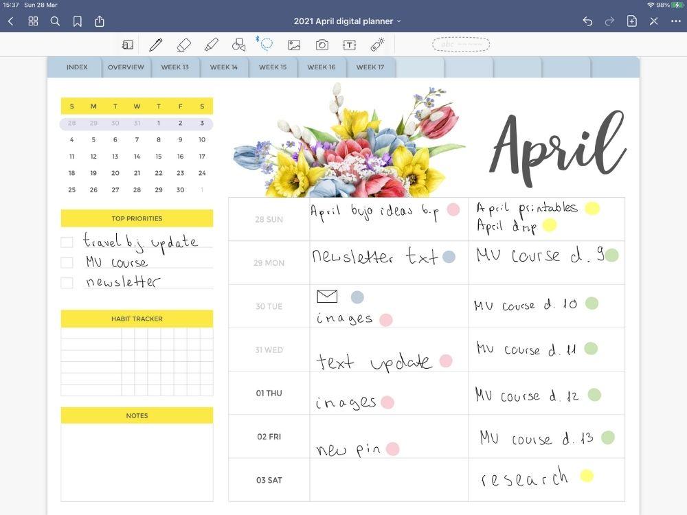April Bullet Journal Ideas Weekly