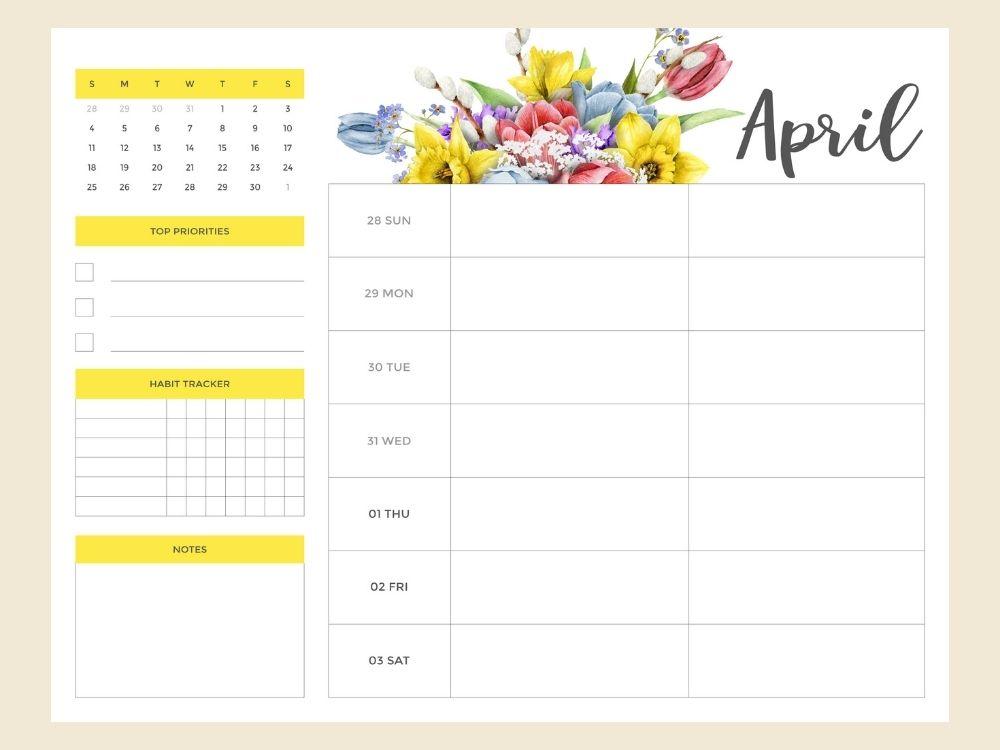 April weekly planner printable