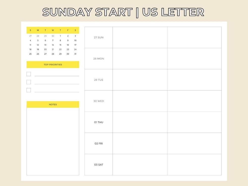 sunday start weekly planner july 2021