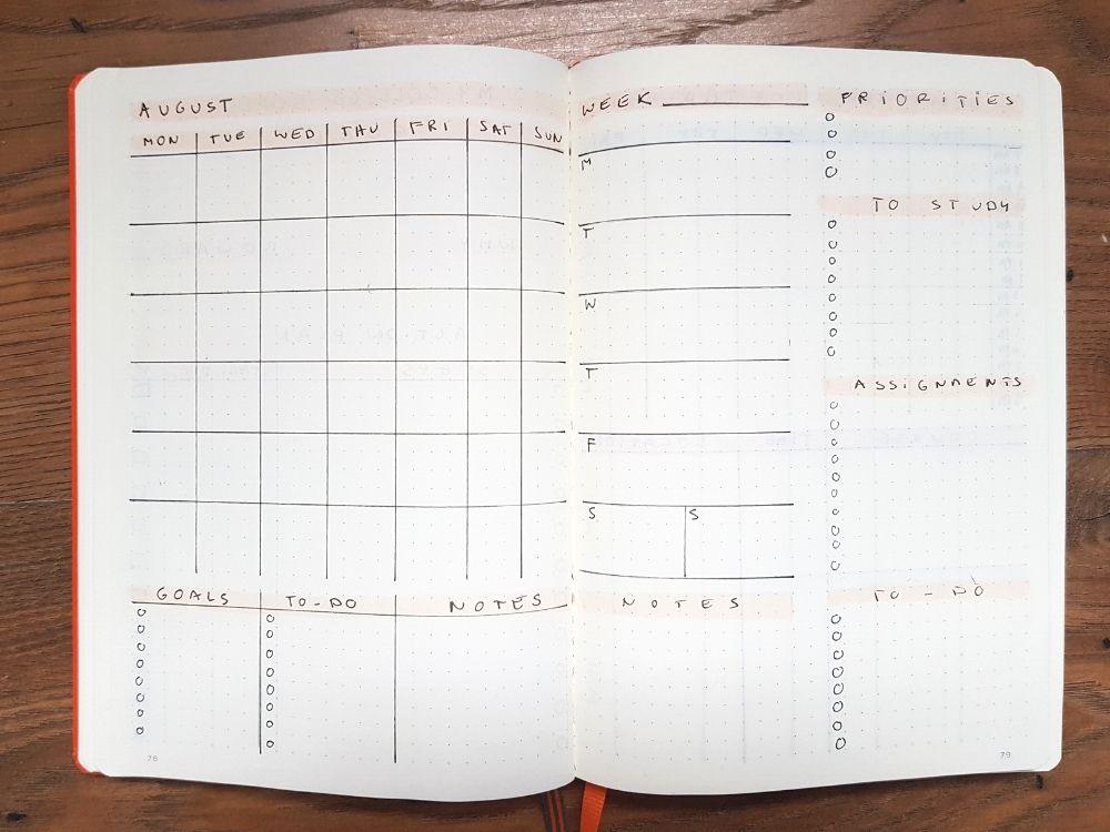monthly weekly school bullet journal