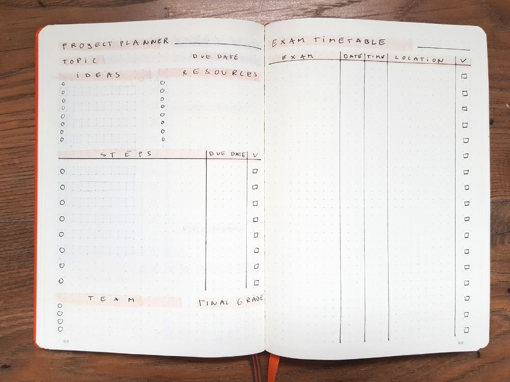 project planner exam tracker