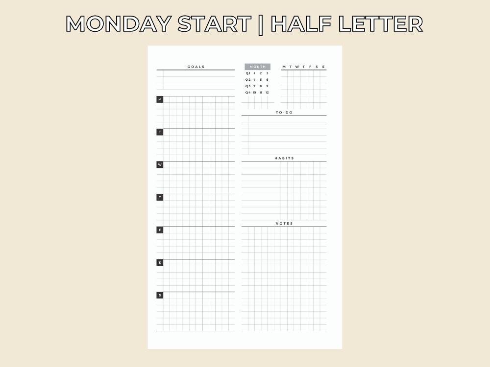 landscape weekly printable planner