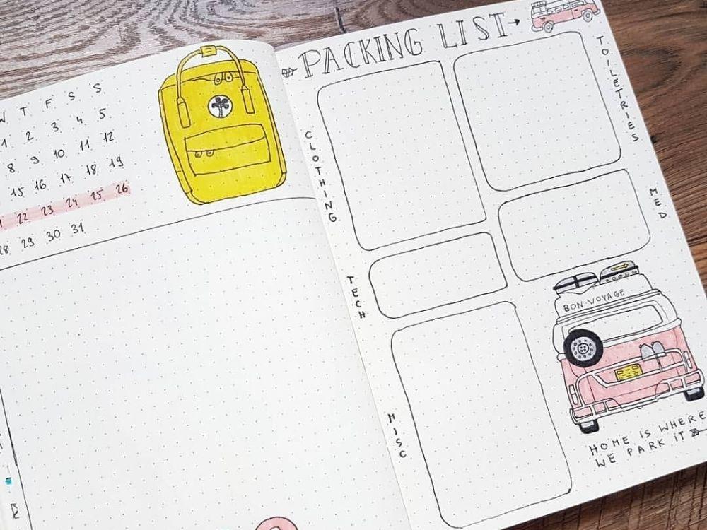 bullet journal packing list