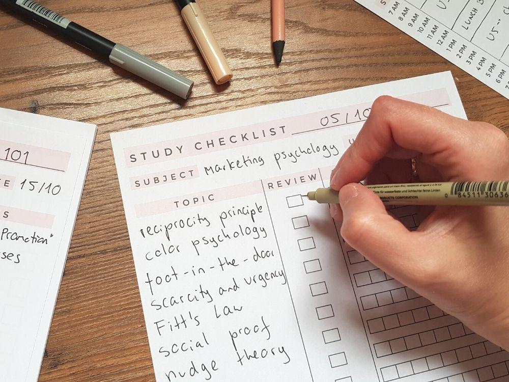 study checklist free planner insert