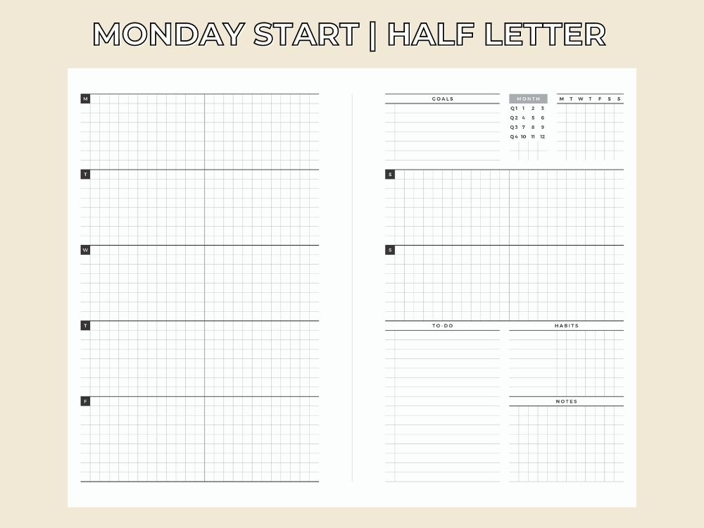 hourly schedule time blocking planner
