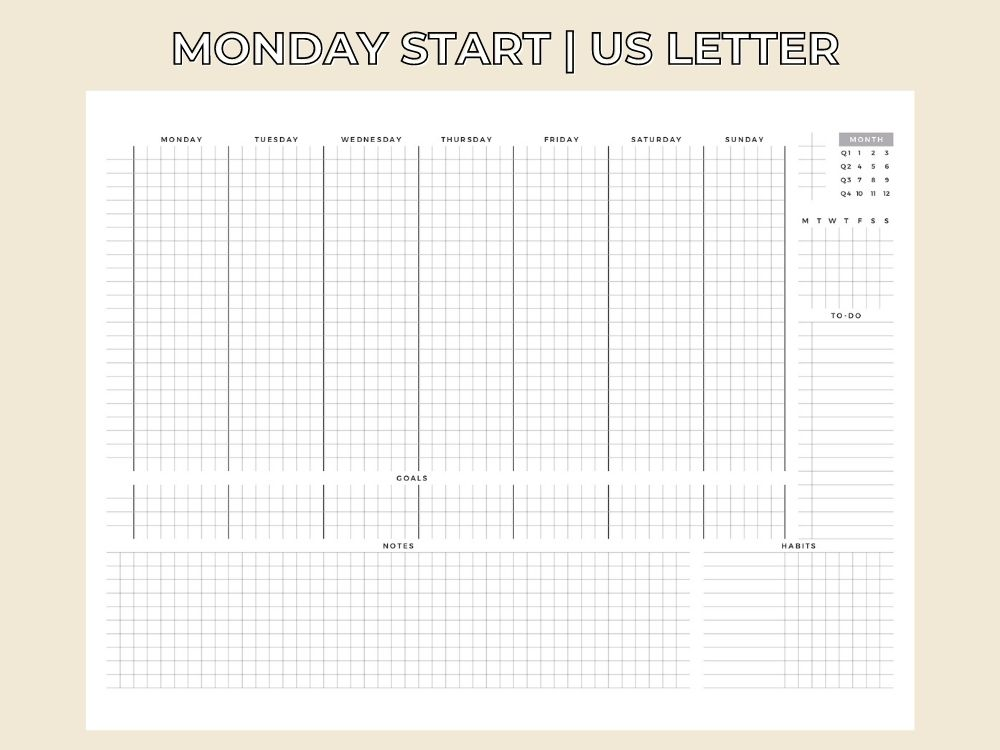weekly timetable us letter template
