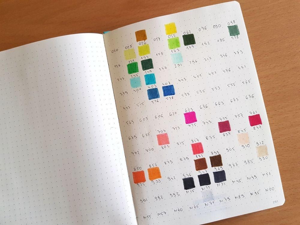 bullet journal brushpen swatches layout