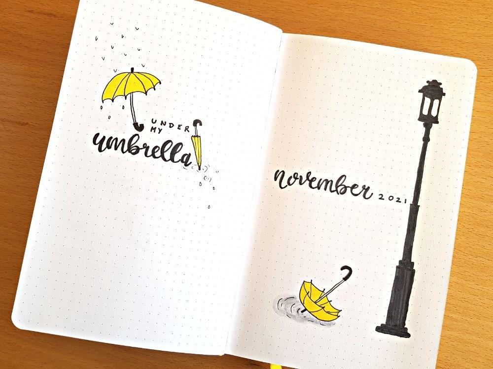 november bullet journal cover rainy days